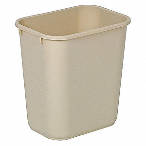 "3-1/2 gal. Rectangular Open Top Utility Wastebasket, 8-1/16""H, Beige"