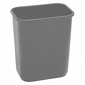 "3-1/2 gal. Rectangular Open Top Wastebasket, 12""H, Gray"
