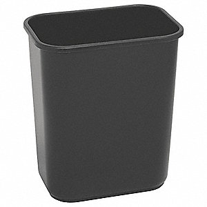 7 gal. Rectangular Black Wastebasket