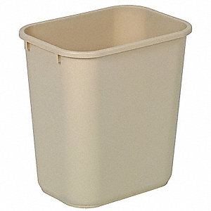 7 gal. Rectangular Beige Wastebasket