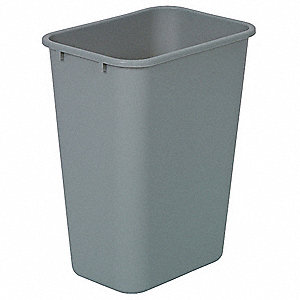 "10 gal. Rectangular Open Top Utility Trash Can, 19-7/8""H, Gray"