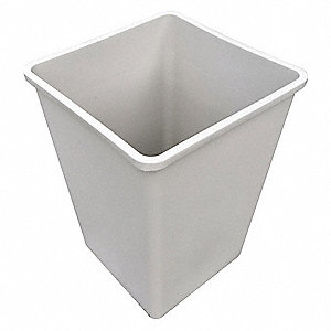 "35 gal. Square Open Top Trash Can, 27-5/8""H, Beige"