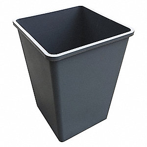 "35 gal. Square Open Top Utility Trash Can, 27-5/8""H, Gray"