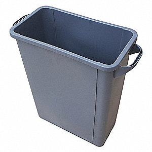 Trash Can,Rectangular,15-29/32 gal.,Gray