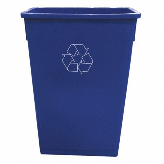 23 gal Rectangular Trash Can,  Plastic,  Blue