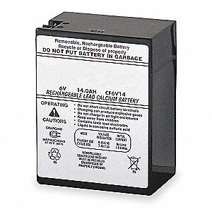 Lead Calcium Battery, 14Ah Battery Capacity, For Use With Mfr. No. ELU3X, ELT36, ELT50