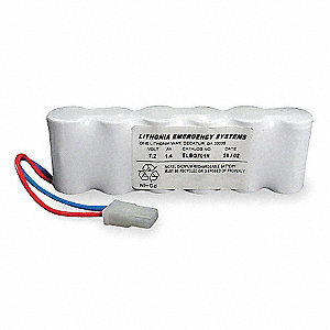 Nickel Cadmium Battery, 1.4Ah Battery Capacity, For Use With Mfr. No. LV S W R 120/277 ELN UM