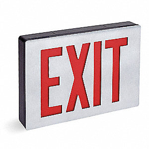 LED Exit Sign with Battery Backup, Aluminum/Black Housing Color, Cast Aluminum Housing Material
