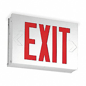 1 or 2 Face LED Exit Sign, White Steel Housing, Red Letter Color
