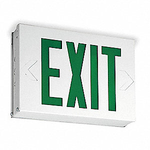 LED Exit Sign, White Housing Color, 20 ga. Steel Housing Material