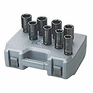 Impact Socket Set,3/4 In Dr,8 pc