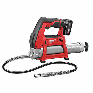12.0 Volt Cordless Grease Gun, 8000 psi, 38.0 Strokes per oz., Cartridge, Bulk, Suction Loading, Fle