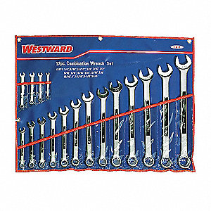 "17-Piece Standard Combination Wrench Set, SAE, Range of Lengths: 4 to 16-29/32"", Points: 12"