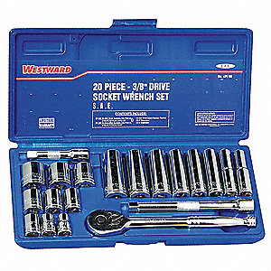 "3/8"" SAE Chrome Socket Wrench Set, Number of Pieces: 20"