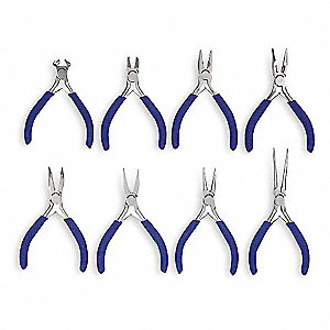 Precision Plier Set, Handle Type: Dipped, Number of Pieces: 8