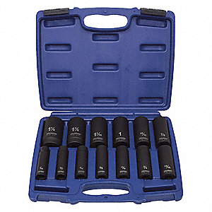 IMPACT SOCKET SET,1/2 DR,6 PT,DEEP,