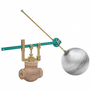 "Horizontal Piping-Mount Globe Float Valve, 5/16""-18 Rod Thread, Bronze"
