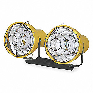 Aluminum Portable Floodlight Head, Yellow; For Use With Mfr. No. CRT, TRI-HD, PED