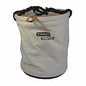 "Utility Bucket Bag 12"" Dia., White/Black #4 Canvas"