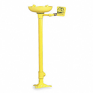 Eyewash, Pedestal Mount, Push Handle, Unassembled, Plastic