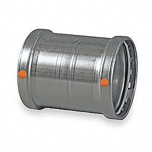 "304 Stainless Steel Coupling no stop, Press x Press Connection Type, 4"" Tube Size"