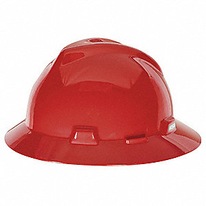 Full Brim Hard Hat, 4 pt. Ratchet Suspension, Red, Hat Size: 6-1/2 to 8
