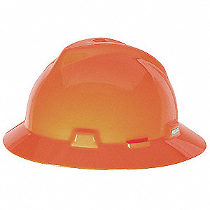 Full Brim Hard Hat, 4 pt. Ratchet Suspension, Hi-Visibility Orange, Hat Size: 6-1/2 to 8