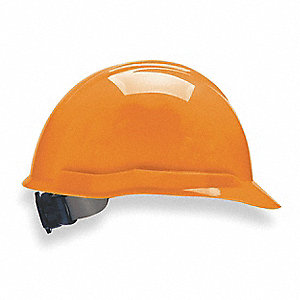 Front Brim Hard Hat, 4 pt. Ratchet Suspension, Hi-Visibility Orange, Hat Size: 6-1/2 to 8""