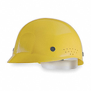 Yellow Polyethylene Vented Bump Cap, Style: Perforated Sides, Fits Hat Size: 6-1/2 to 8