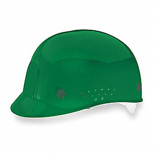 Green Polyethylene Vented Bump Cap, Style: Perforated Sides, Fits Hat Size: 6-1/2 to 8