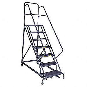 "6-Step Rolling Ladder, Serrated Step Tread, 96"" Overall Height, 600 lb. Load Capacity"
