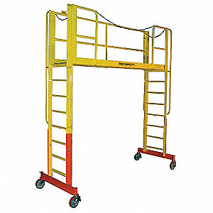 "Rolling Work Platform, Steel, Dual Access Platform Style, 103"" to 115"" Platform Height"