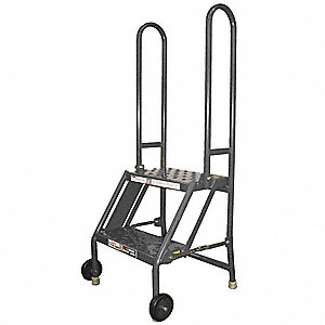 "2-Step Tilt and Roll Ladder, Perforated Step Tread, 44"" Overall Height, 300 lb. Load Capacity"