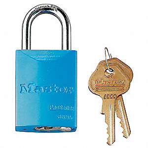 Blue Lockout Padlock, Different Key Type, Aluminum Body Material, 1 EA