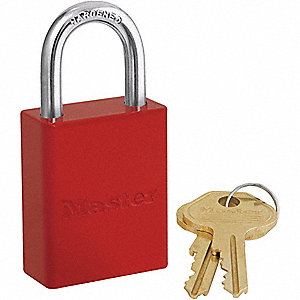 Red Lockout Padlock, Different Key Type, Master Keyed: No, Aluminum Body Material