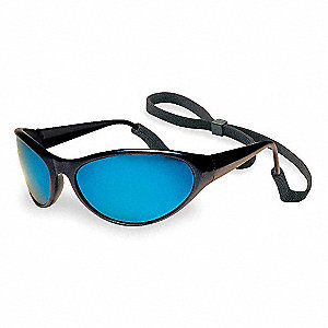 Prevail Scratch-Resistant Safety Glasses, Blue Mirror Lens Color