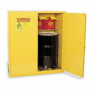 "58"" x 31-1/2"" x 65"" Galvanized Steel Vertical Drum Safety Cabinet with Manual Doors, Yellow"