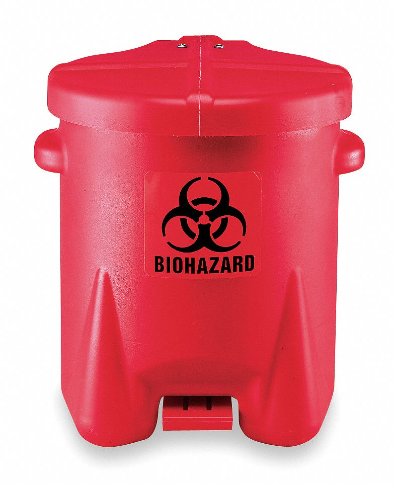 Biohazard Step On Waste Can, 6 gal, Red, Red, 16 in x 13 1/2 in x 16 1/2 in