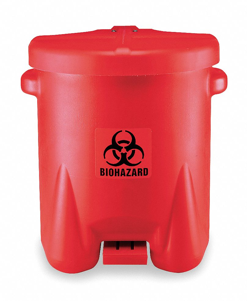 Biohazard Step On Waste Can, 14 gal, Red, Red, 21 in x 18 in x 22 in