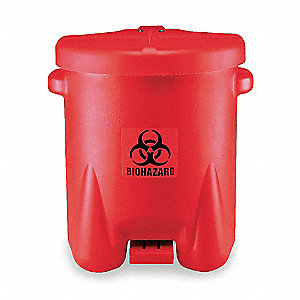 Biohazard Step On Waste Container,Red