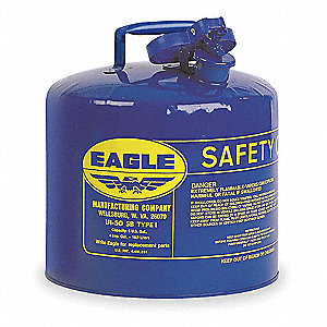 5 gal. Type I Safety Can, Used For Kerosene, Blue&#x3b; Includes Squeeze Handle, Pour Spout, Flame Arrest