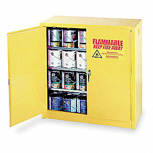 "43"" x 18"" x 44"" Galvanized Steel Paint and Ink Safety Cabinet with Manual Doors, Yellow"