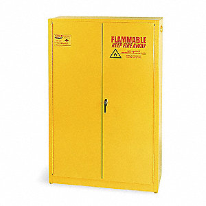"43"" x 18"" x 65"" Galvanized Steel Paint and Ink Safety Cabinet with Manual Doors, Yellow"