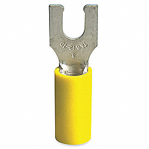Fork Terminal, Yellow Vinyl, Brazed Seam, 12 to 10 AWG, 50 PK