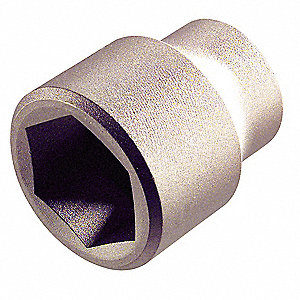 "3/8"" Aluminum Bronze Socket with 3/8"" Drive Size and Natural Finish"