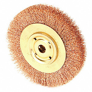 "6"" Crimped Wire Wheel Brush, Arbor Hole Mounting, 0.014"" Wire Dia., 1 EA"