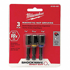 Mag Nut Driver Set,1/4,5/16,3/8 In,3 Pc