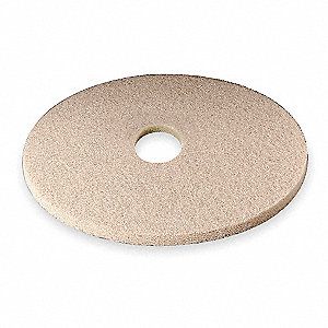 "21"" Non-Woven Polyester Fiber Round Burnishing Pad, 1500 to 3000 rpm, Tan, 5 PK"