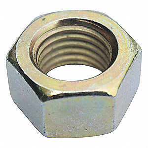 "3/8""-16 Hex Nut, Zinc Yellow Finish, Grade 8 Steel, Right Hand, ASME B18.2.2, PK2500"
