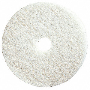 "17"" White Buffing and Cleaning Pad, Polyester Fiber, Package Quantity 5"